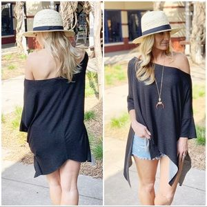Black dropped Shoulder slouchy soft tunic